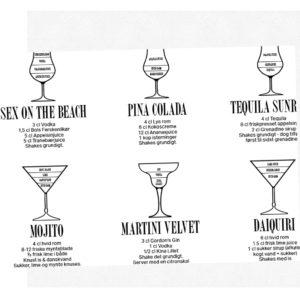 DRINKS plakat med Cocktail opskrifter Flere størrelser og farver