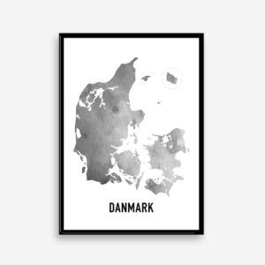 Plakat med Danmarkskort