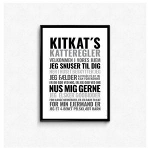 Katteregler, kæledyrs regler, kæledyr plakat, plakat til dyreelskeren