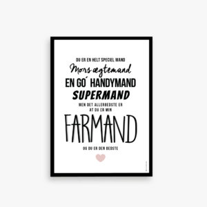 Farmand plakat. Handymand, supermand, Gave til fars dag