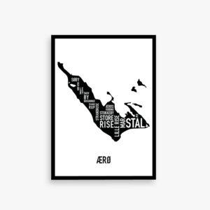 Ærø kort byplakat plakat