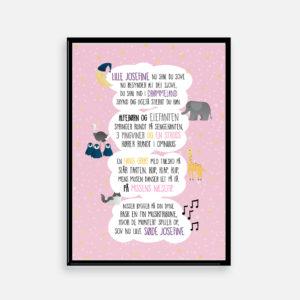 Personlig plakat, grafisk design af plakat, din personlig grafiske designer, blop sangen, lille per, barselsgave, barnedåb, navngivning, sang plakat
