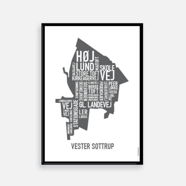 Vester Sottrup plakat, byplakat, plakat med gadenavne