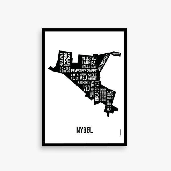 Nybøl kort byplakat plakat