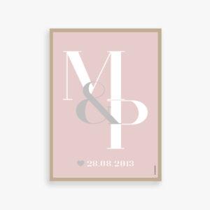 Kaerlighed, monogram, par, bryllupsplakat