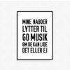 musikplakat, mine nanoer lytter til god musik
