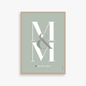 Kaerlighed, monogram, par, bryllupsplakat, børn