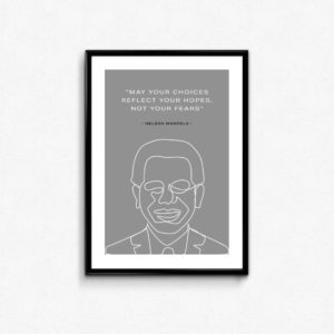 """CITAT"" PLAKAT Nelson Mandela ""MAY YOUR CHOICES REFLECT YOUR HOPES, NOT YOUR FEARS"""