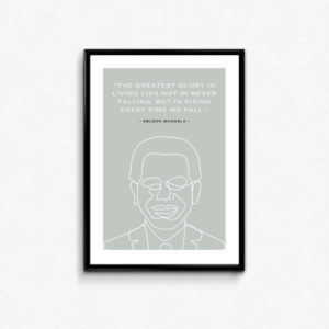 """CITAT"" PLAKAT Nelson Mandela""The greatest glory in living lies not in never falling, but in rising every time we fall."