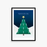 Glædelig jul kort, julekort, juletræ