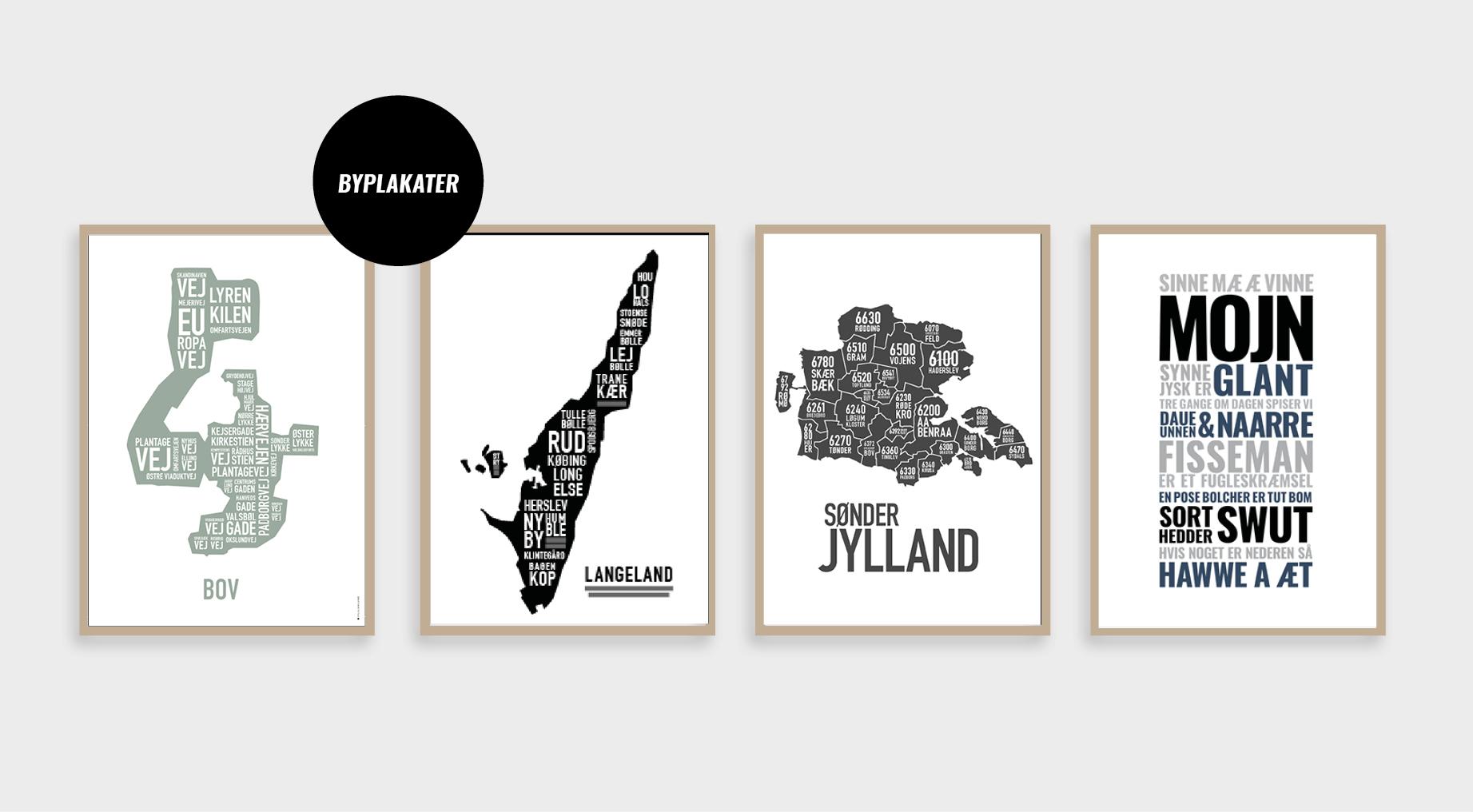By- og stedplakater, sønderjylland, mojn, langeland, bov