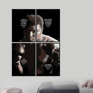 """MUHAMMED ALI - 4 plakater med citater Kan også købes hver for sig. 1. """"He who is not courageous enough to take risks will accomplish nothing in life."""" Muhammed Ali 2. """"Inside of a ring or out, ain't nothing wrong with going down. It's staying down that's wrong."""" Muhammed Ali 3. """"Float like a butterfly, sting like a bee."""" Muhammed Ali 4. """"I am the greatest, I said that even before I knew I was."""" Muhammed Ali Trykt på fra 190 g. lækkert papir"""
