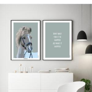 grafisk plakat af hest, personlig plakat , pony, til hestepigen