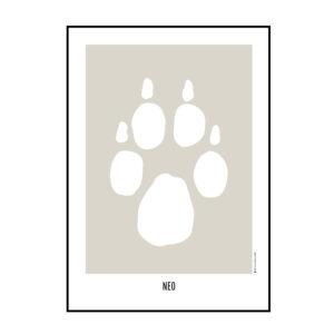 Plakat med dit kæledyrs pote. Digital art, digital illustration, aftegning af kæledyrets pote.